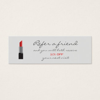 Rote Lippenstift Empfehlungs-Karte Mini Visitenkarte