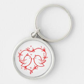 Rote Lovebirds und Herz-Hochzeits-Liebe-Verlobung Schlüsselanhänger