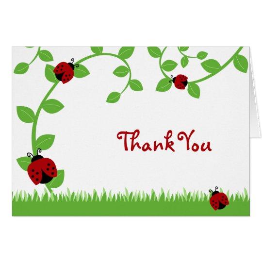 Rote Marienkäfer-Reben danken Ihnen zu merken Mitteilungskarte