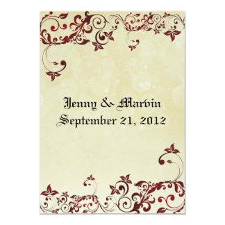 Rote mit Filigran geschmückte Hochzeits-Einladung Karte
