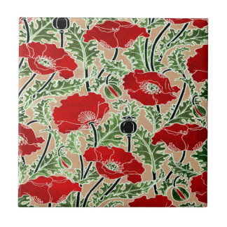 Rote Mohnblume Kleine Quadratische Fliese