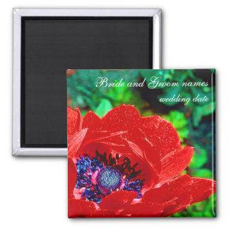 Rote Mohnblume Quadratischer Magnet