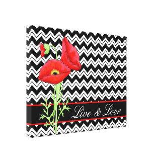 Rote Mohnblume Schwarz-weißes Zickzack Zizzag Live Leinwanddruck