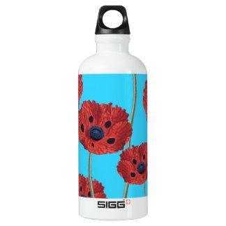 Rote Mohnblumen auf Blau Wasserflasche