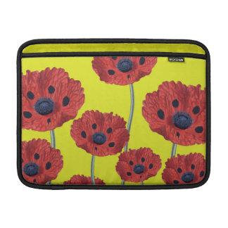 Rote Mohnblumen auf Gelb Sleeve Fürs MacBook Air