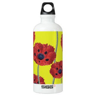 Rote Mohnblumen auf Gelb Wasserflasche