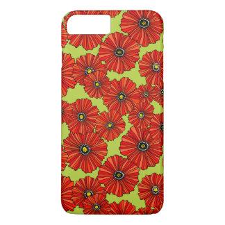 Rote Mohnblumen auf weises Grün iPhone Fall iPhone 8 Plus/7 Plus Hülle