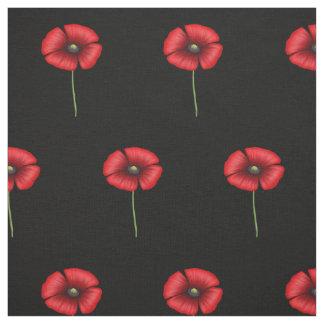Rote Mohnblumen-Blumen auf schwarzem Gewebe Stoff