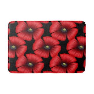 Rote Mohnblumen-Blumen-Kopf-Muster-Bad-Matte Badematte
