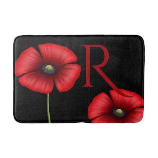 Rote Mohnblumen-Blumen-kundenspezifische Badematte