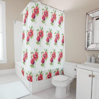 Rote Mohnblumen-Blumenkunst Duschvorhang