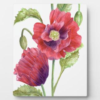 Rote Mohnblumen-Blumenkunst Fotoplatte