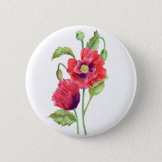 Rote Mohnblumen-Blumenkunst Runder Button 5,1 Cm
