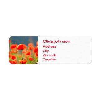 Rote Mohnblumen-Mohnblumen-Blumen-blauer Himmel Kleiner Adressaufkleber