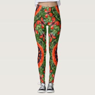 Rote Mohnblumen-Natur, Blume-Mandala 006 02 Leggings