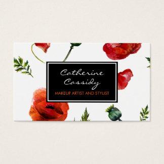 Rote Mohnblumen, Schwarzweiss-Blumen, Visitenkarte