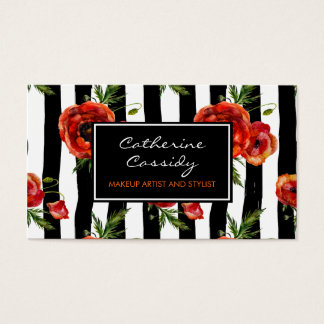 Rote Mohnblumen, Schwarzweiss-Streifen, Visitenkarte