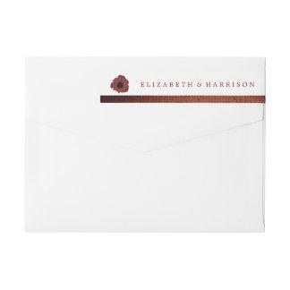 Rote Mohnblumen und Leinwand-Hochzeit Rundum-Adressaufkleber Für Rückversand