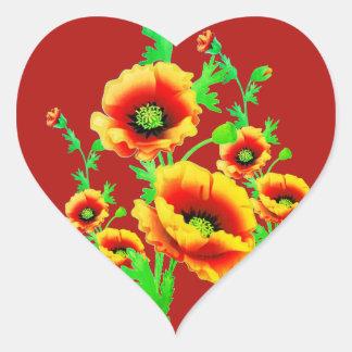 Rote Mohnblumen, vibrierende Herz-förmige mit Herz-Aufkleber