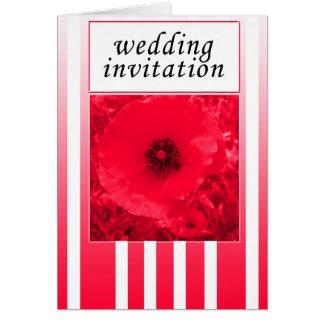 rote Mohnblumenstreifen-Hochzeitseinladung Karte