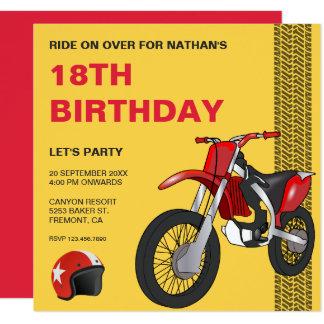 Rote Motocross-Fahrrad-Geburtstags-Party Einladung