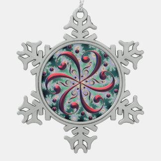 Rote Musikclefs-Schneeflocke-Weihnachtsverzierung Schneeflocken Zinn-Ornament