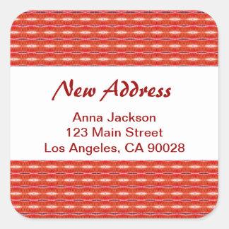 Rote neue Adresse Quadratischer Aufkleber