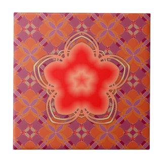 Rote Opium-Lotos-Blume Kachel