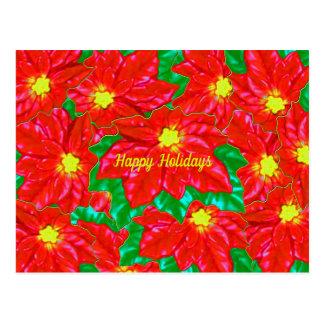 Rote orange Poinsettias Postkarte