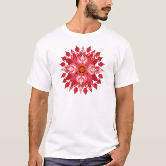 Rote Paisley-Sonne-Mandala T-Shirt
