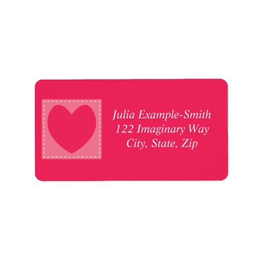 Rote Patchwork-Herzen kundenspezifisch Adressetikett