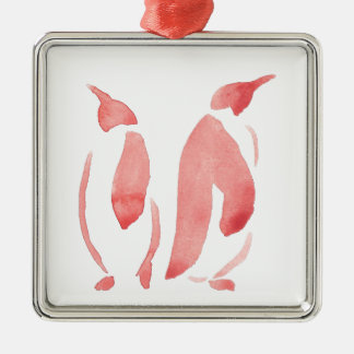 Rote Pinguin-Paare Silbernes Ornament