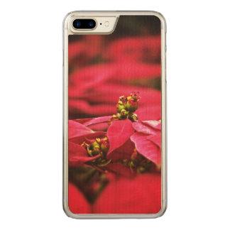 Rote Poinsettia-Blumen Carved iPhone 8 Plus/7 Plus Hülle