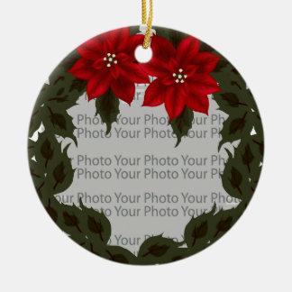 Rote Poinsettiawreath-Foto-Rahmen-Verzierung Keramik Ornament