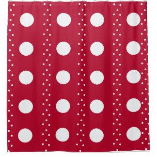 Rote Punkt-Streifen Duschvorhang