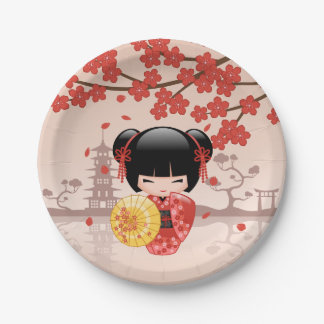 Rote Puppe Kirschblütes Kokeshi - japanische Pappteller