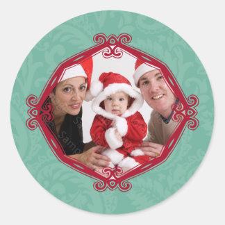 Rote Rahmen-Familien-Foto-Feiertags-Aufkleber Runder Aufkleber