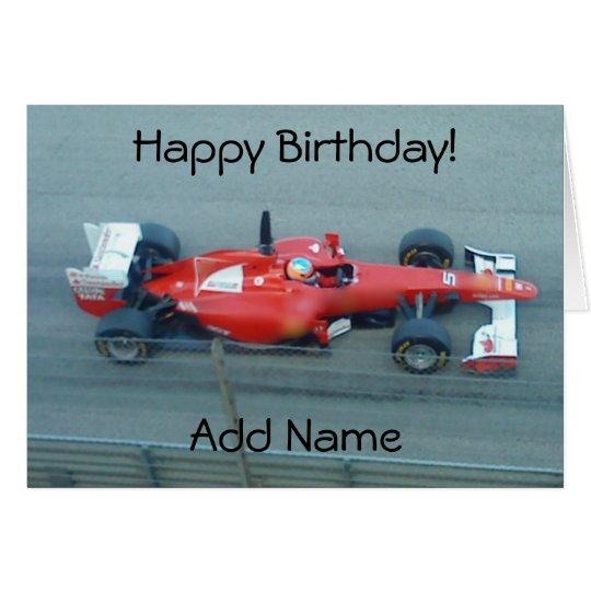 Rote Rennwagen-Geburtstags-Karte Grußkarte