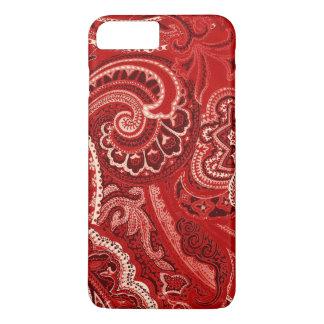 Rote Retro Paisley Bandanna/Bandana iPhone 8 Plus/7 Plus Hülle