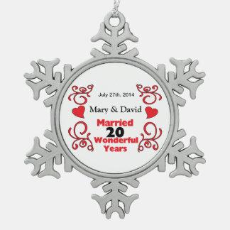 Rote Rolle-u. Herz-Namen u. datieren 20 Schneeflocken Zinn-Ornament