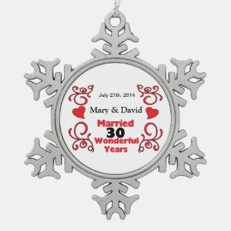 Rote Rolle-u. Herz-Namen u. datieren 30 Schneeflocken Zinn-Ornament
