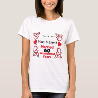 Rote Rolle-u. Herz-Namen u. datieren 60 T-Shirt