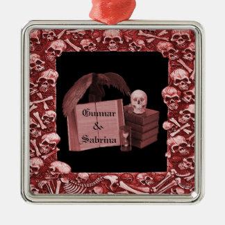 Rote Romance Schädel Spellbook Hochzeit Silbernes Ornament