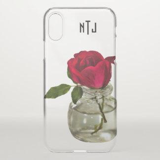 Rote Rose in der Flaschen-Blumenphotographie - iPhone X Hülle