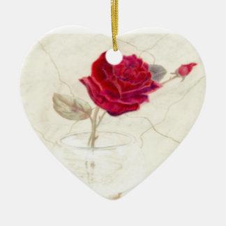 Rote Rose in der Vasen-Weihnachtsverzierung Keramik Herz-Ornament