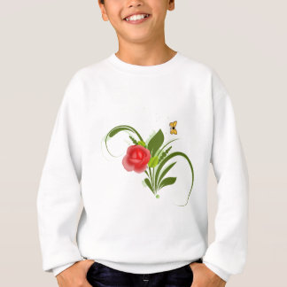 Rote Rose+Schmetterling Sweatshirt