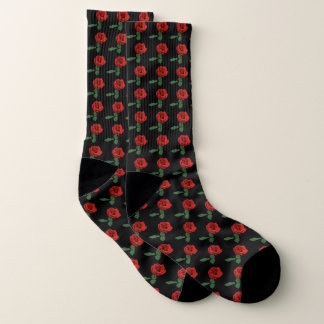 Rote Rosen auf schwarzen Muster-Socken Socken