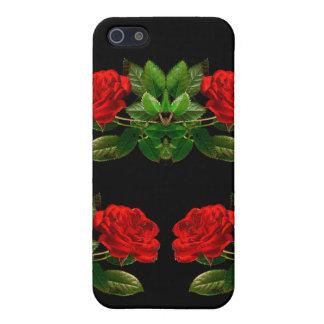 Rote Rosen auf schwarzer Samt-abstraktem mit iPhone 5 Hüllen