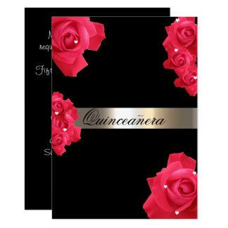 Rote Rosen, kundenspezifische Quinceanera 11,4 X 15,9 Cm Einladungskarte