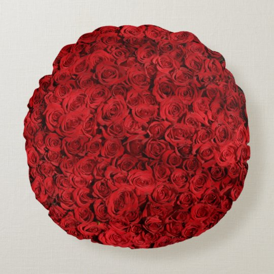 Rote Rosen Rundes Kissen